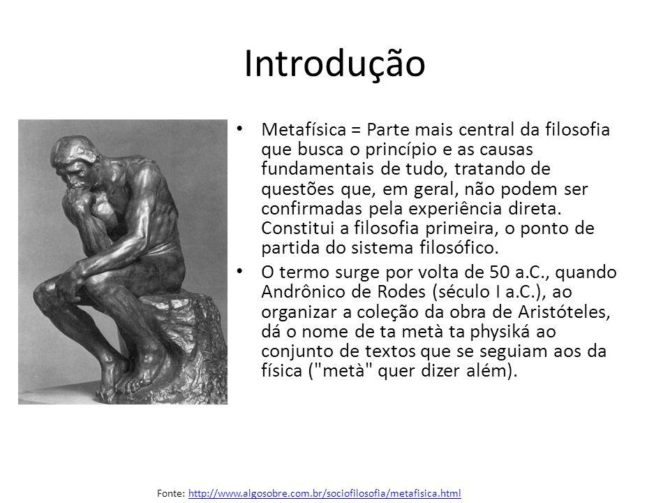 Introdução Metafísica = Parte mais central da filosofia que busca o princípio e as causas fundamentais de tudo, tratando de questões que, em geral, nã