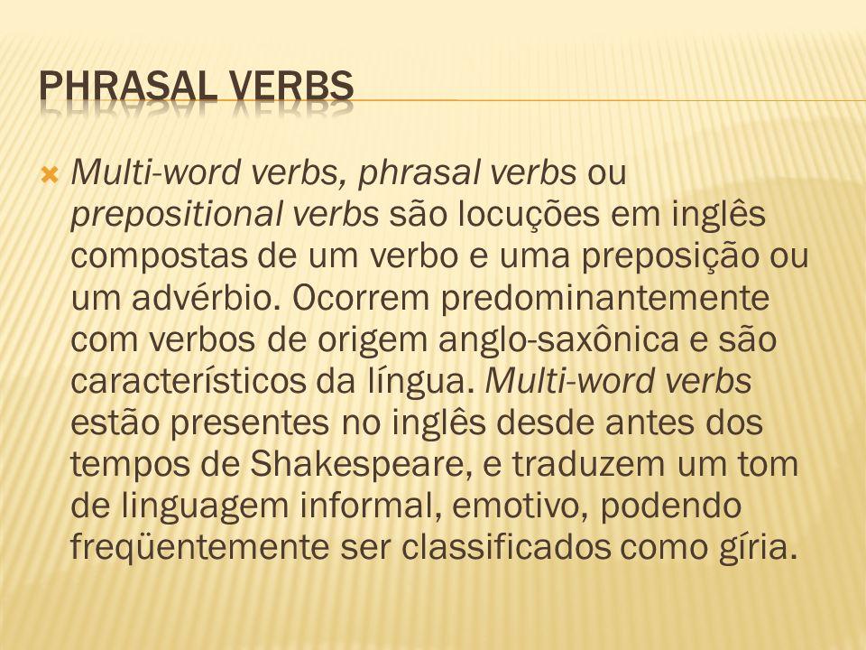 Multi-word verbs, phrasal verbs ou prepositional verbs são locuções em inglês compostas de um verbo e uma preposição ou um advérbio. Ocorrem predomina