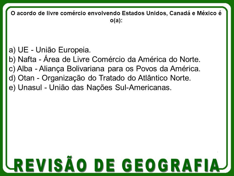 a) UE - União Europeia.b) Nafta - Área de Livre Comércio da América do Norte.