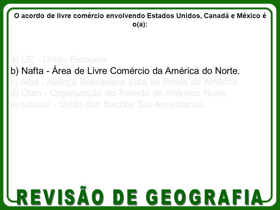 a) UE - União Europeia. b) Nafta - Área de Livre Comércio da América do Norte. c) Alba - Aliança Bolivariana para os Povos da América. d) Otan - Organ