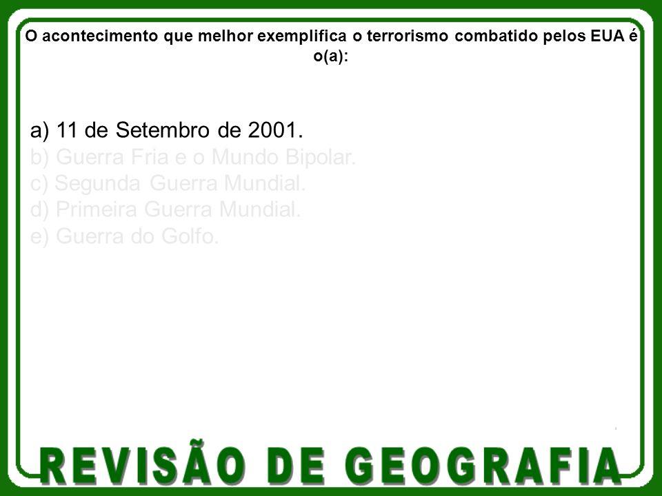 a) 11 de Setembro de 2001. b) Guerra Fria e o Mundo Bipolar. c) Segunda Guerra Mundial. d) Primeira Guerra Mundial. e) Guerra do Golfo. O aconteciment