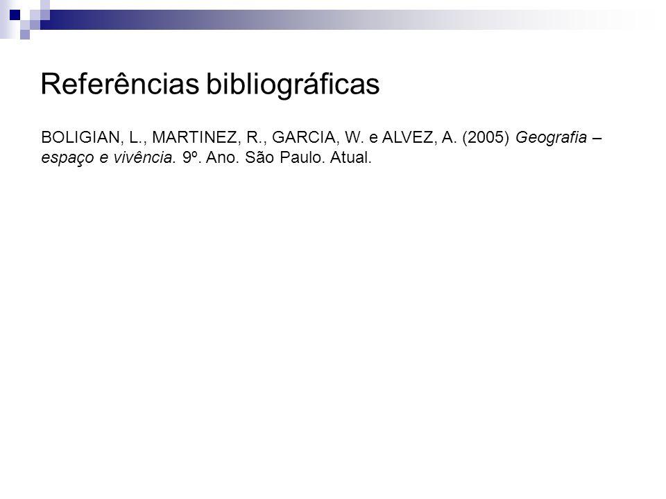 Referências bibliográficas BOLIGIAN, L., MARTINEZ, R., GARCIA, W. e ALVEZ, A. (2005) Geografia – espaço e vivência. 9º. Ano. São Paulo. Atual.
