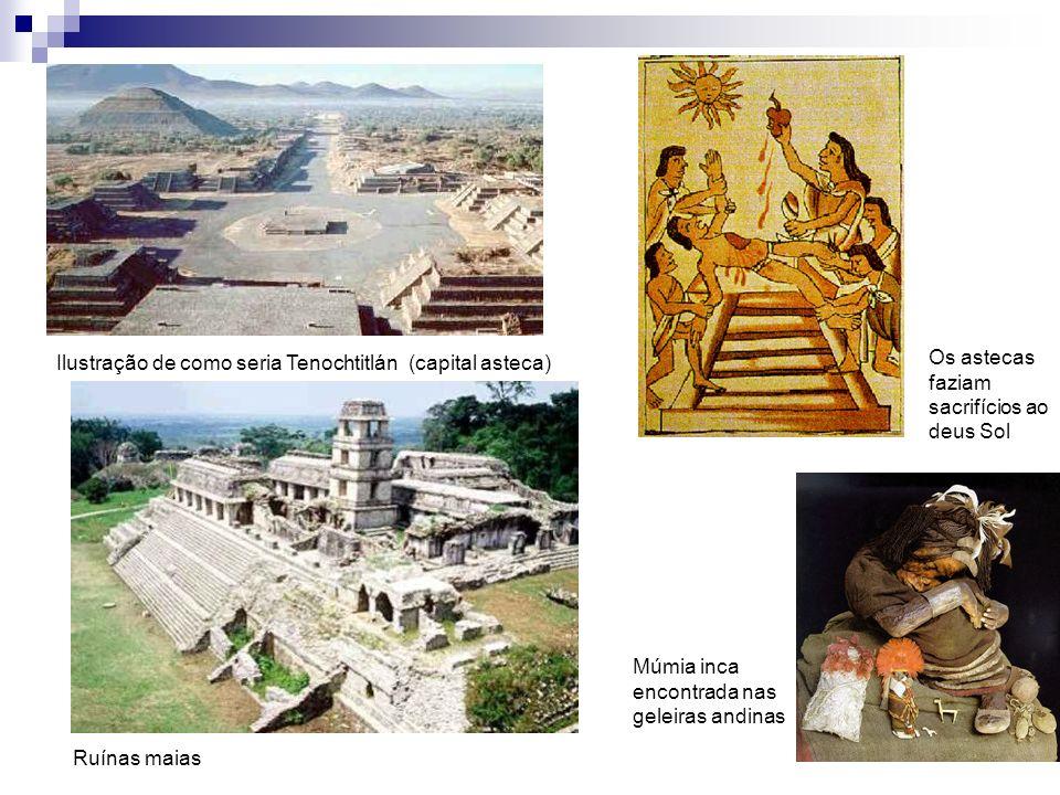 Ilustração de como seria Tenochtitlán (capital asteca) Ruínas maias Os astecas faziam sacrifícios ao deus Sol Múmia inca encontrada nas geleiras andinas