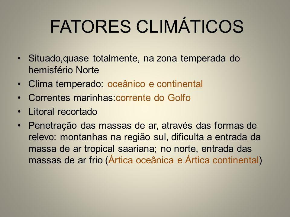FATORES CLIMÁTICOS Situado,quase totalmente, na zona temperada do hemisfério Norte Clima temperado: oceânico e continental Correntes marinhas:corrente