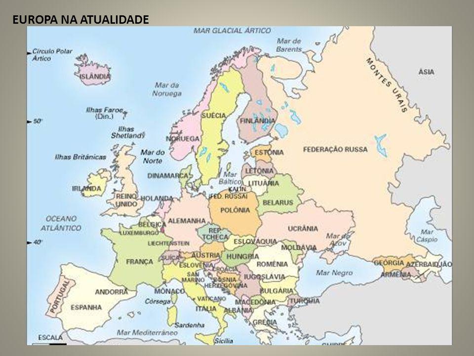 ORIENTAÇÕES GEOGRÁFICAS Mais de 10 milhões de Km² Estende-se do Oceano Atlântico aos Montes Urais Mares importantes: Mediterrâneo, Negro, Adriático, do Norte, Báltico, da Noruega, Egeu e Cáspio Possui três grandes ilhas: Grã-Bretanha, Irlanda e Islândia Fica próximo da África e Ásia