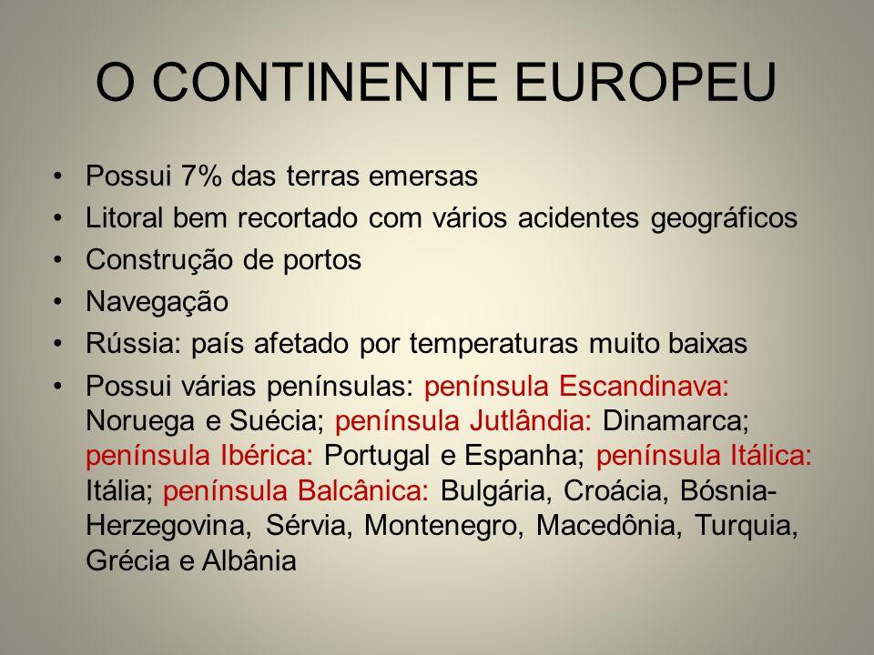 O CONTINENTE EUROPEU Possui 7% das terras emersas Litoral bem recortado com vários acidentes geográficos Construção de portos Navegação Rússia: país a