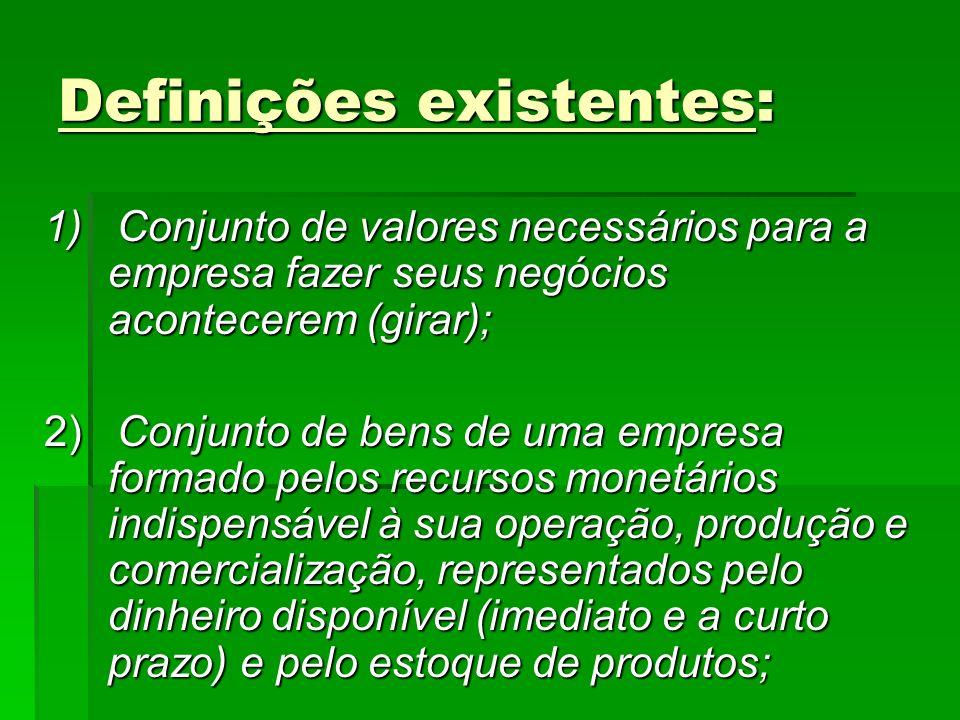 Definições existentes: 1) Conjunto de valores necessários para a empresa fazer seus negócios acontecerem (girar); 2) Conjunto de bens de uma empresa f
