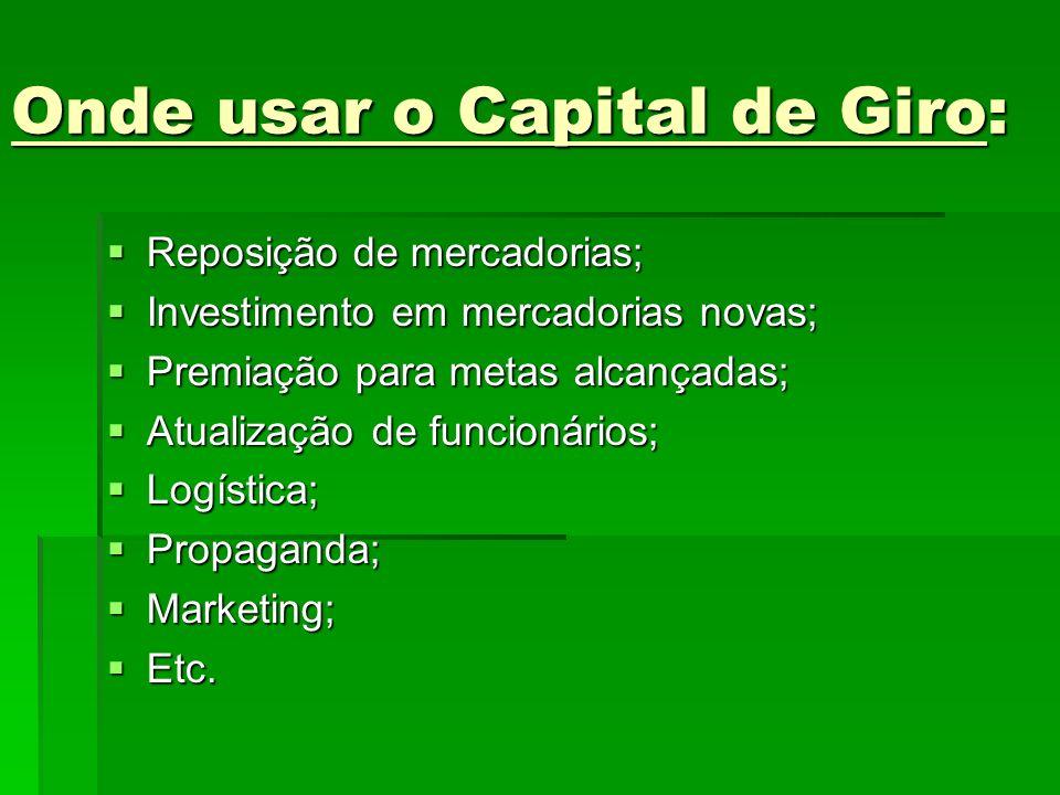 Onde usar o Capital de Giro: Reposição de mercadorias; Reposição de mercadorias; Investimento em mercadorias novas; Investimento em mercadorias novas;