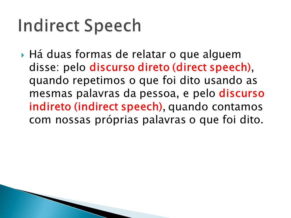 Há duas formas de relatar o que alguem disse: pelo discurso direto (direct speech), quando repetimos o que foi dito usando as mesmas palavras da pesso