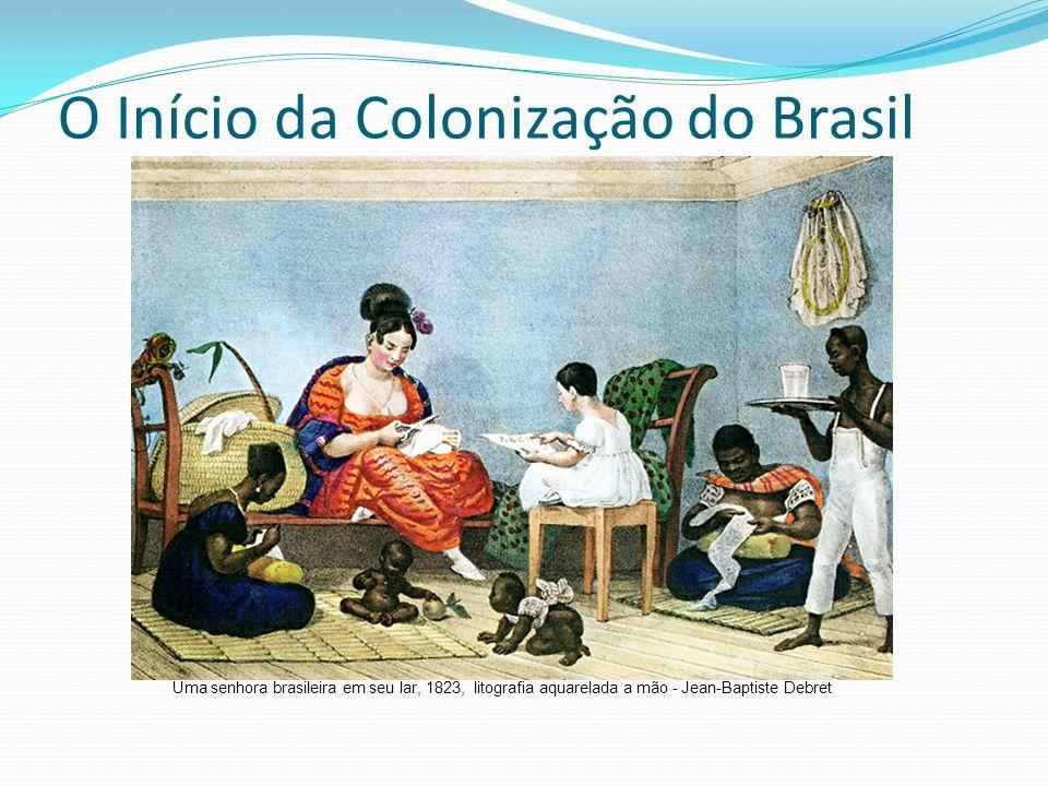 O Início da Colonização do Brasil Uma senhora brasileira em seu lar, 1823, litografia aquarelada a mão - Jean-Baptiste Debret