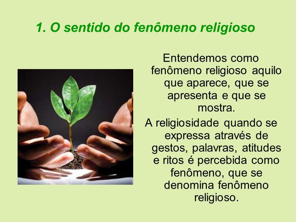 1. O sentido do fenômeno religioso Entendemos como fenômeno religioso aquilo que aparece, que se apresenta e que se mostra. A religiosidade quando se