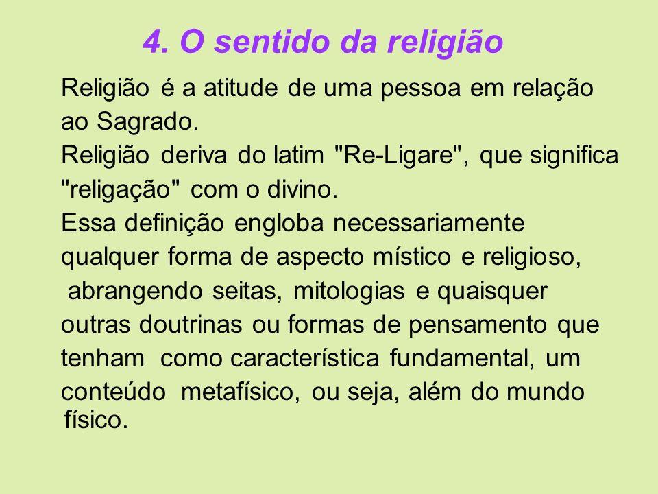 4. O sentido da religião Religião é a atitude de uma pessoa em relação ao Sagrado. Religião deriva do latim
