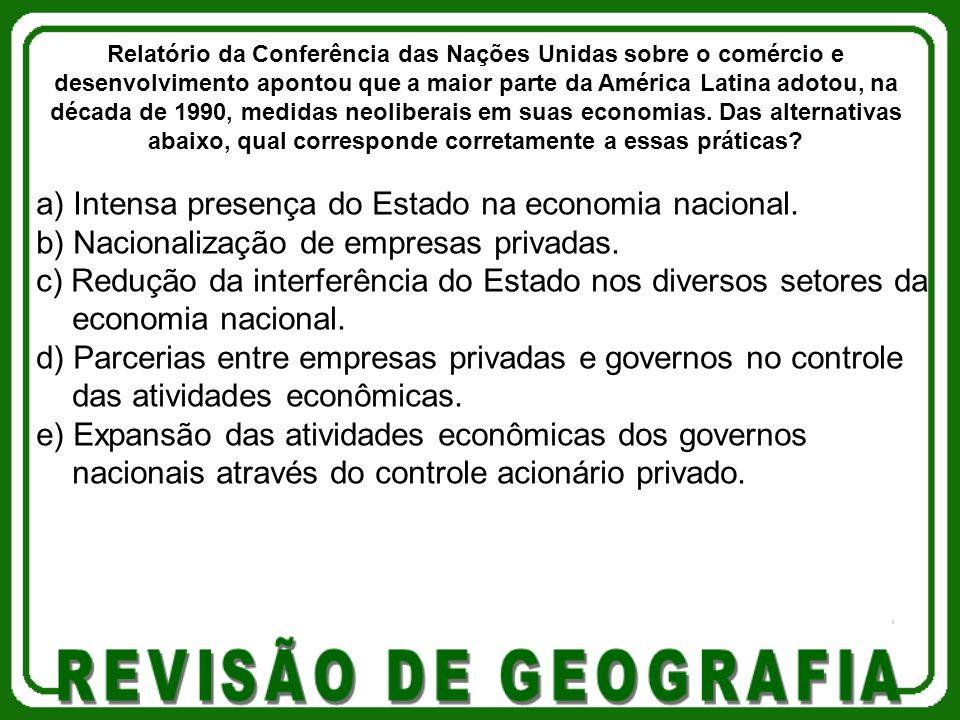 a) Intensa presença do Estado na economia nacional. b) Nacionalização de empresas privadas. c) Redução da interferência do Estado nos diversos setores
