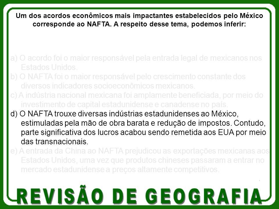 a) O acordo foi o maior responsável pela entrada legal de mexicanos nos Estados Unidos. b) O NAFTA foi o maior responsável pelo crescimento constante