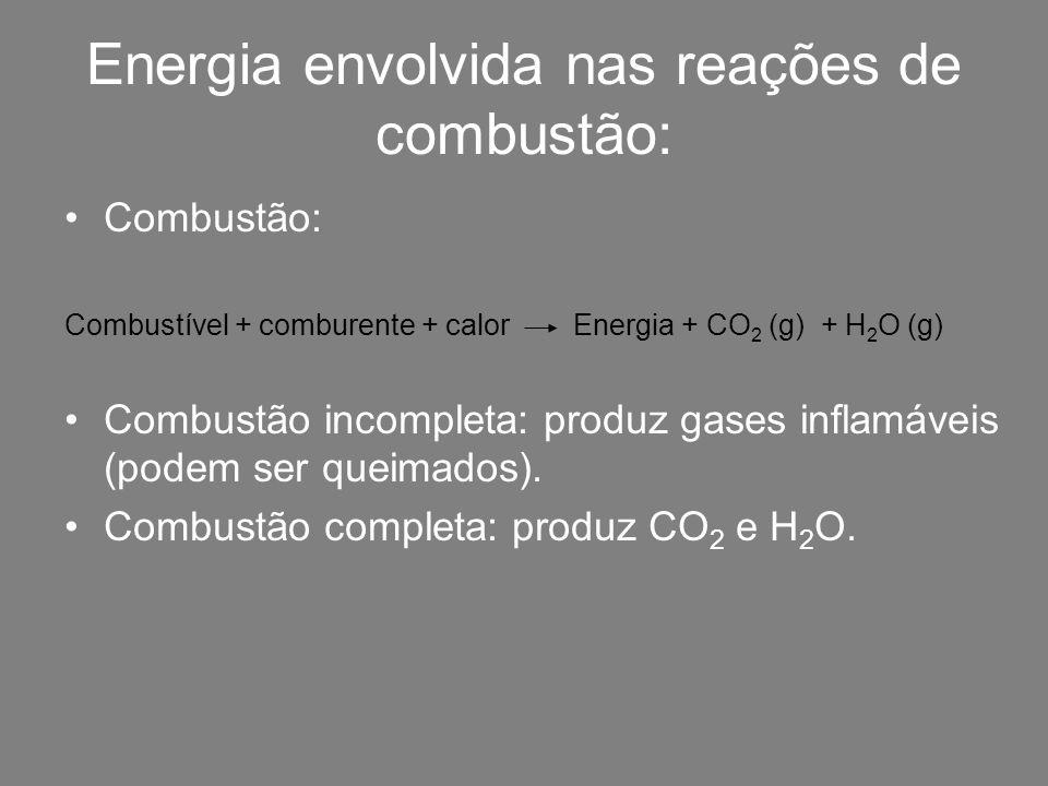 Energia envolvida nas reações de combustão: Combustão: Combustível + comburente + calor Energia + CO 2 (g) + H 2 O (g) Combustão incompleta: produz ga