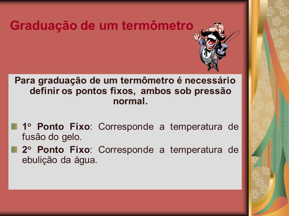 Graduação de um termômetro Para graduação de um termômetro é necessário definir os pontos fixos, ambos sob pressão normal. 1 o Ponto Fixo: Corresponde