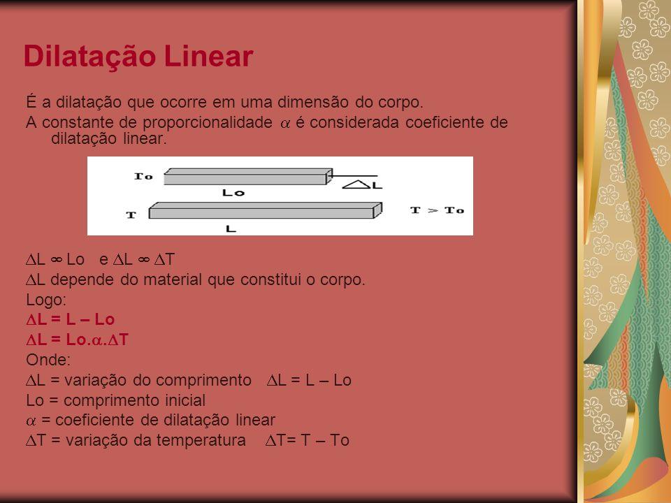 Dilatação Linear É a dilatação que ocorre em uma dimensão do corpo. A constante de proporcionalidade é considerada coeficiente de dilatação linear. L