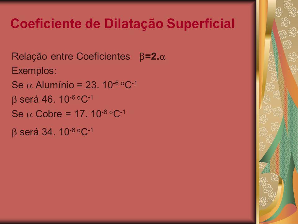 Coeficiente de Dilatação Superficial Relação entre Coeficientes =2. Exemplos: Se Alumínio = 23. 10 -6 o C -1 será 46. 10 -6 o C -1 Se Cobre = 17. 10 -