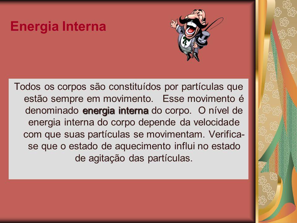 Energia Interna energiainterna Todos os corpos são constituídos por partículas que estão sempre em movimento. Esse movimento é denominado energia inte