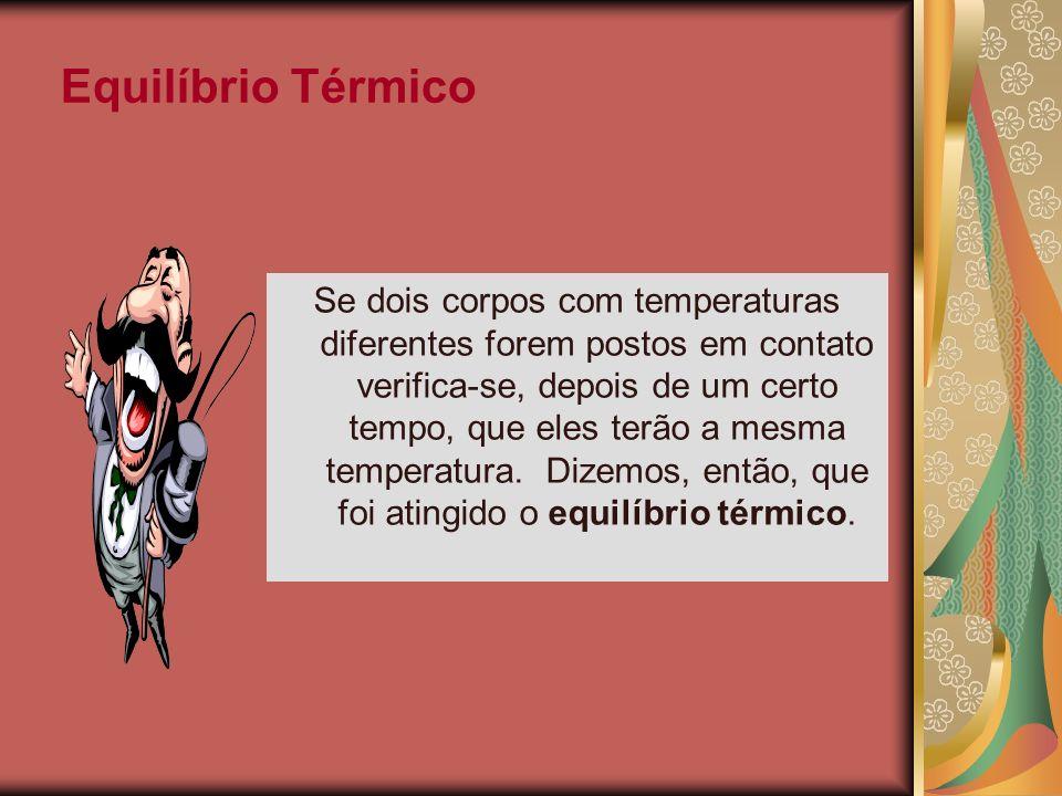 Equilíbrio Térmico Se dois corpos com temperaturas diferentes forem postos em contato verifica-se, depois de um certo tempo, que eles terão a mesma te