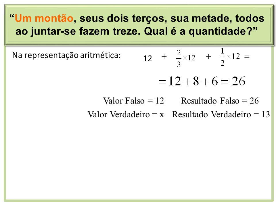 Na representação aritmética: 12 ++= Valor Falso = 12Resultado Falso = 26 Valor Verdadeiro = xResultado Verdadeiro = 13 Um montão, seus dois terços, su