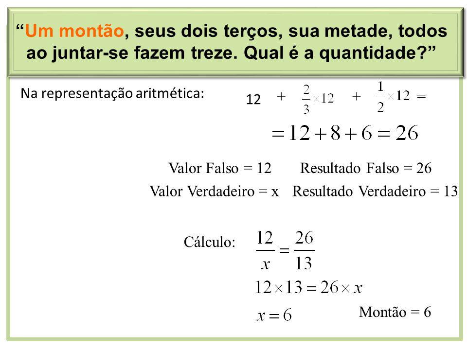 Na representação aritmética: 12 ++= Valor Falso = 12Resultado Falso = 26 Valor Verdadeiro = xResultado Verdadeiro = 13 Cálculo: Montão = 6 Um montão,