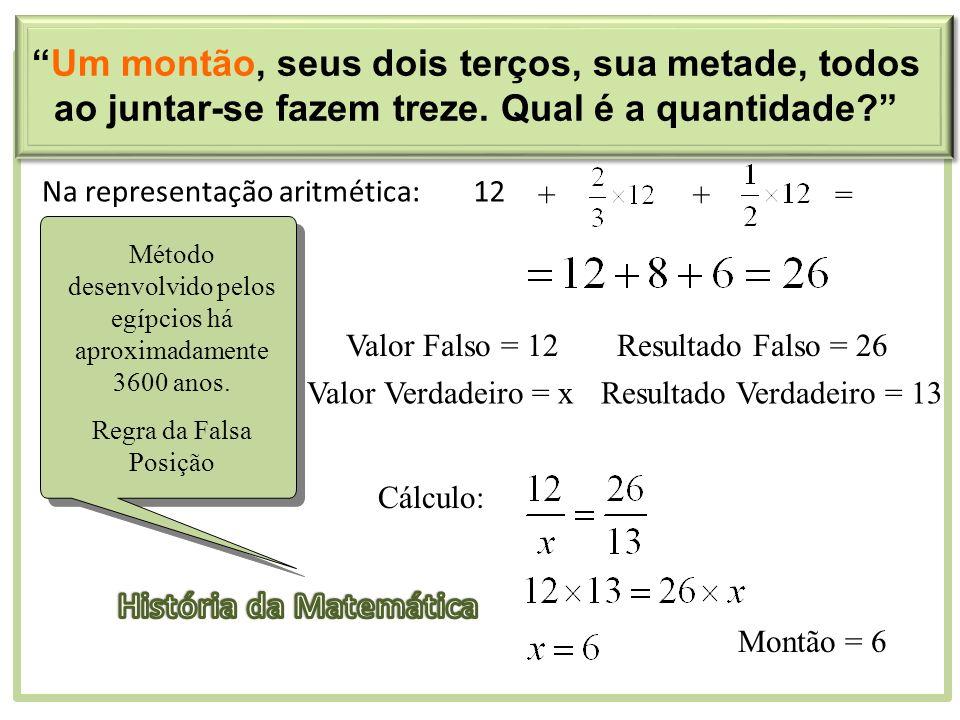 Na representação aritmética:12 ++= Valor Falso = 12Resultado Falso = 26 Valor Verdadeiro = xResultado Verdadeiro = 13 Cálculo: Montão = 6 Método desen