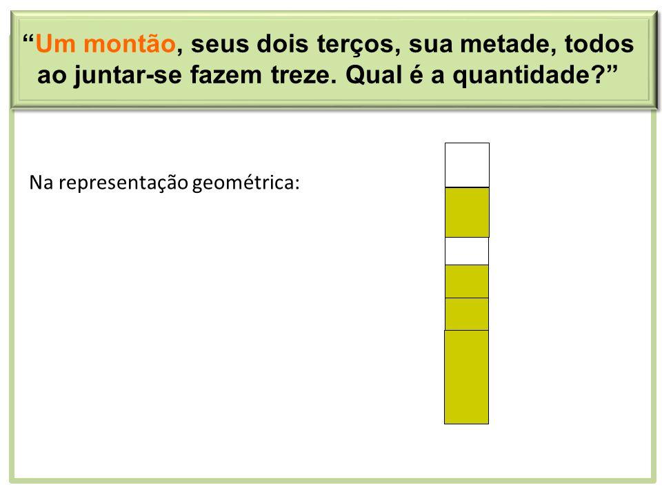 Na representação geométrica: Um montão, seus dois terços, sua metade, todos ao juntar-se fazem treze. Qual é a quantidade?