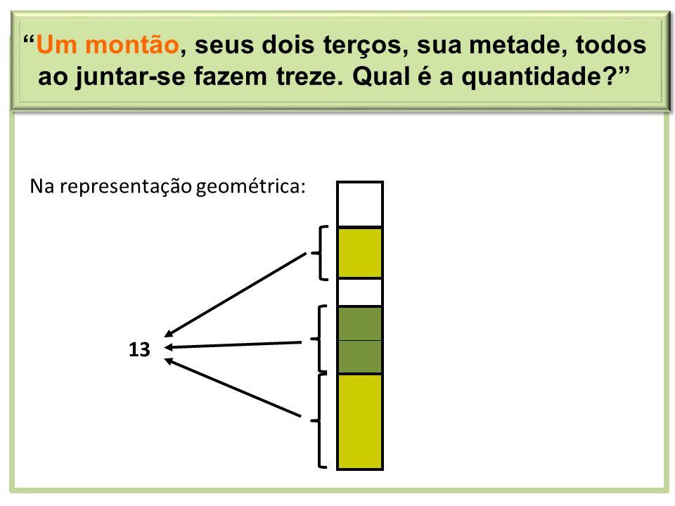 Na representação geométrica: 13 Um montão, seus dois terços, sua metade, todos ao juntar-se fazem treze. Qual é a quantidade?