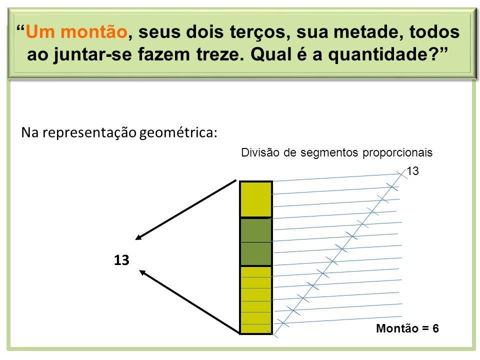 Na representação geométrica: 13 Um montão, seus dois terços, sua metade, todos ao juntar-se fazem treze. Qual é a quantidade? 13 Divisão de segmentos