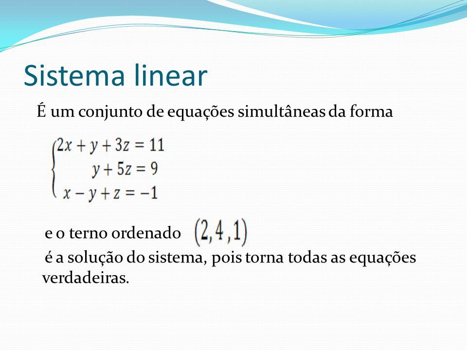 Classif.de um sistema linear Sistema possível e determinado (SPD) A solução única é ( 3, 2).