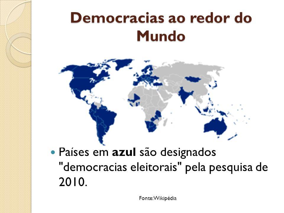 Democracias ao redor do Mundo É difícil precisar o número de democracias na actualidade.
