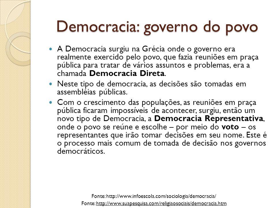 Democracia: governo do povo Embora tenha sido o berço da democracia, nem todos podiam participar nesta cidade.