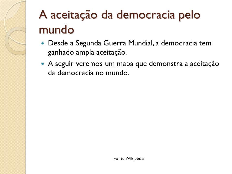Este mapa mostra a auto-identificação oficial feita por governos mundiais em relação a democracia, em Março de 2008.