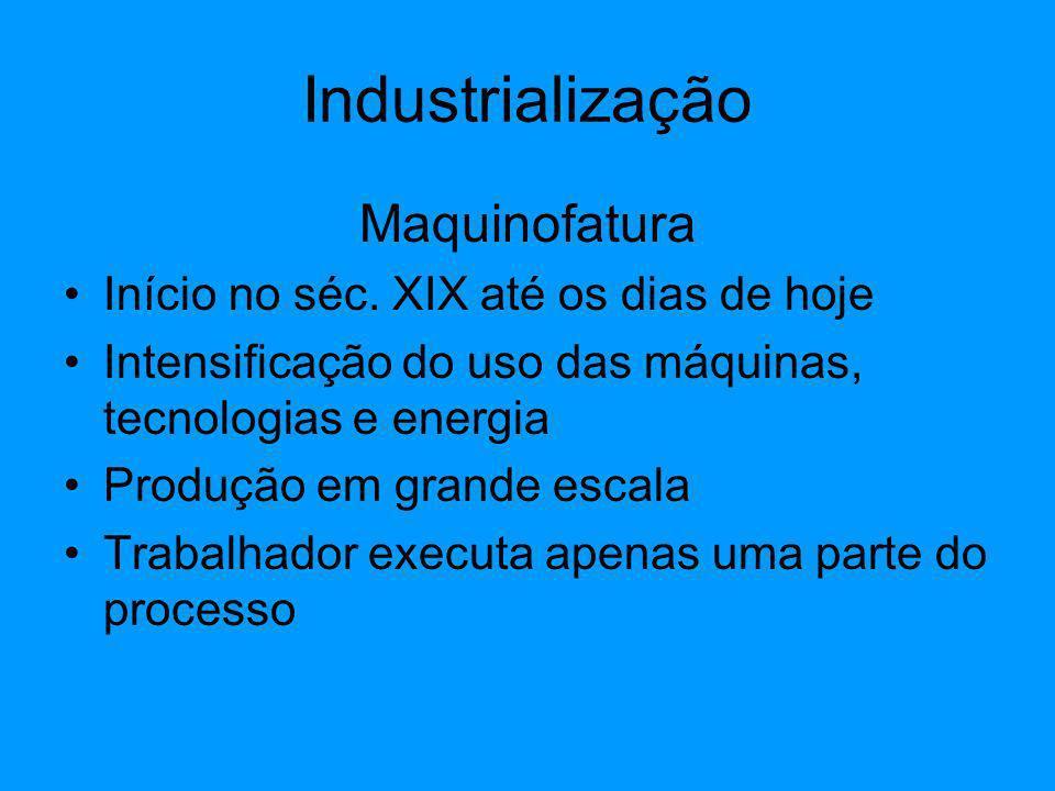 Maquinofatura Início no séc. XIX até os dias de hoje Intensificação do uso das máquinas, tecnologias e energia Produção em grande escala Trabalhador e