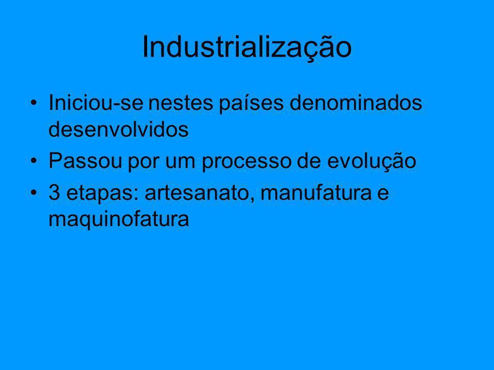 Industrialização Iniciou-se nestes países denominados desenvolvidos Passou por um processo de evolução 3 etapas: artesanato, manufatura e maquinofatur