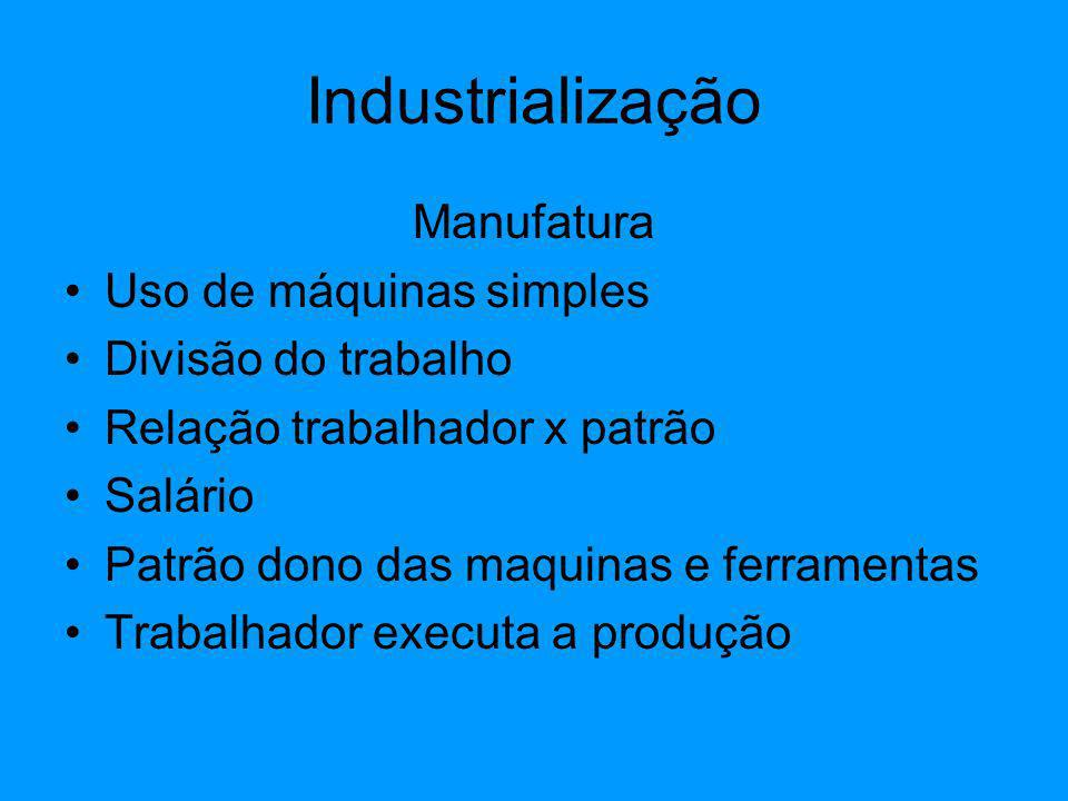 Manufatura Uso de máquinas simples Divisão do trabalho Relação trabalhador x patrão Salário Patrão dono das maquinas e ferramentas Trabalhador executa