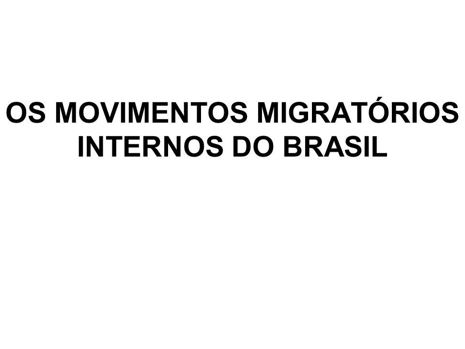 OS MOVIMENTOS MIGRATÓRIOS INTERNOS DO BRASIL