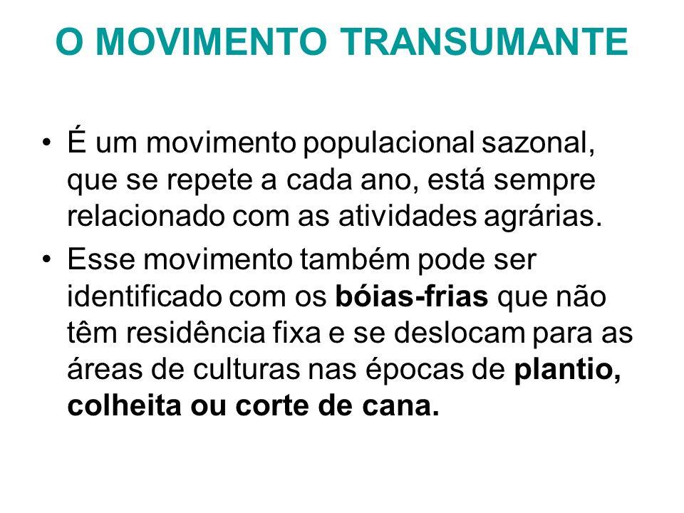 O MOVIMENTO TRANSUMANTE É um movimento populacional sazonal, que se repete a cada ano, está sempre relacionado com as atividades agrárias. Esse movime