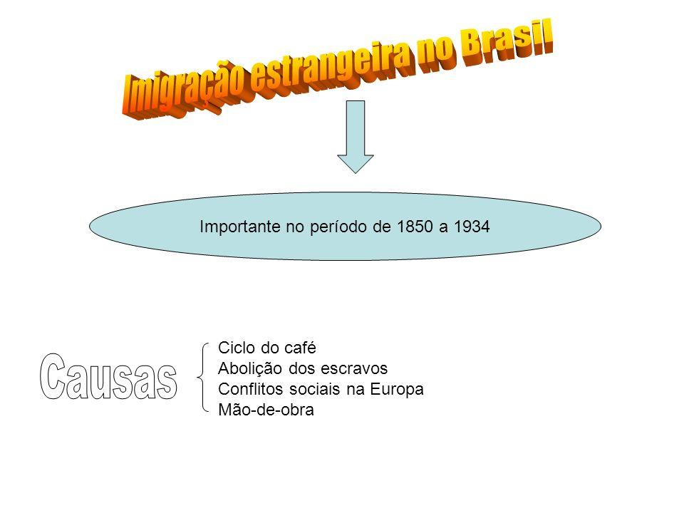 Importante no período de 1850 a 1934 Ciclo do café Abolição dos escravos Conflitos sociais na Europa Mão-de-obra