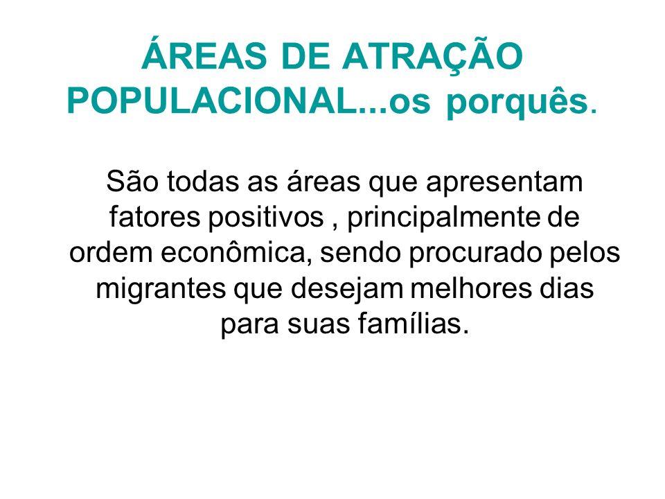 ÁREAS DE ATRAÇÃO POPULACIONAL...os porquês. São todas as áreas que apresentam fatores positivos, principalmente de ordem econômica, sendo procurado pe