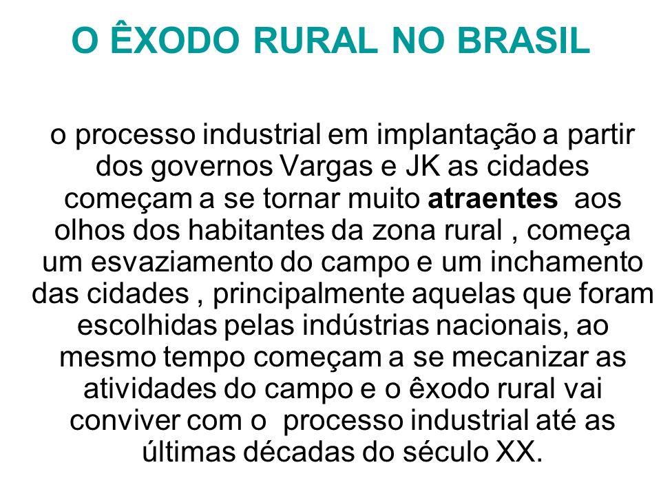 O ÊXODO RURAL NO BRASIL o processo industrial em implantação a partir dos governos Vargas e JK as cidades começam a se tornar muito atraentes aos olho