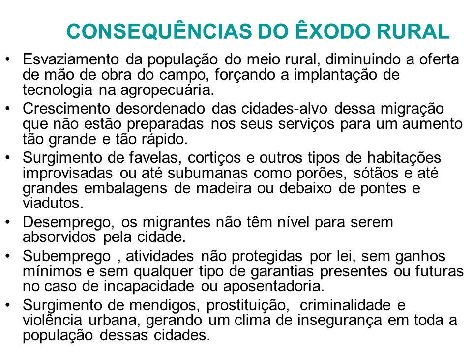 CONSEQUÊNCIAS DO ÊXODO RURAL Esvaziamento da população do meio rural, diminuindo a oferta de mão de obra do campo, forçando a implantação de tecnologi