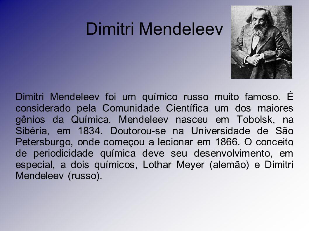 Dimitri Mendeleev Dimitri Mendeleev foi um químico russo muito famoso. É considerado pela Comunidade Científica um dos maiores gênios da Química. Mend