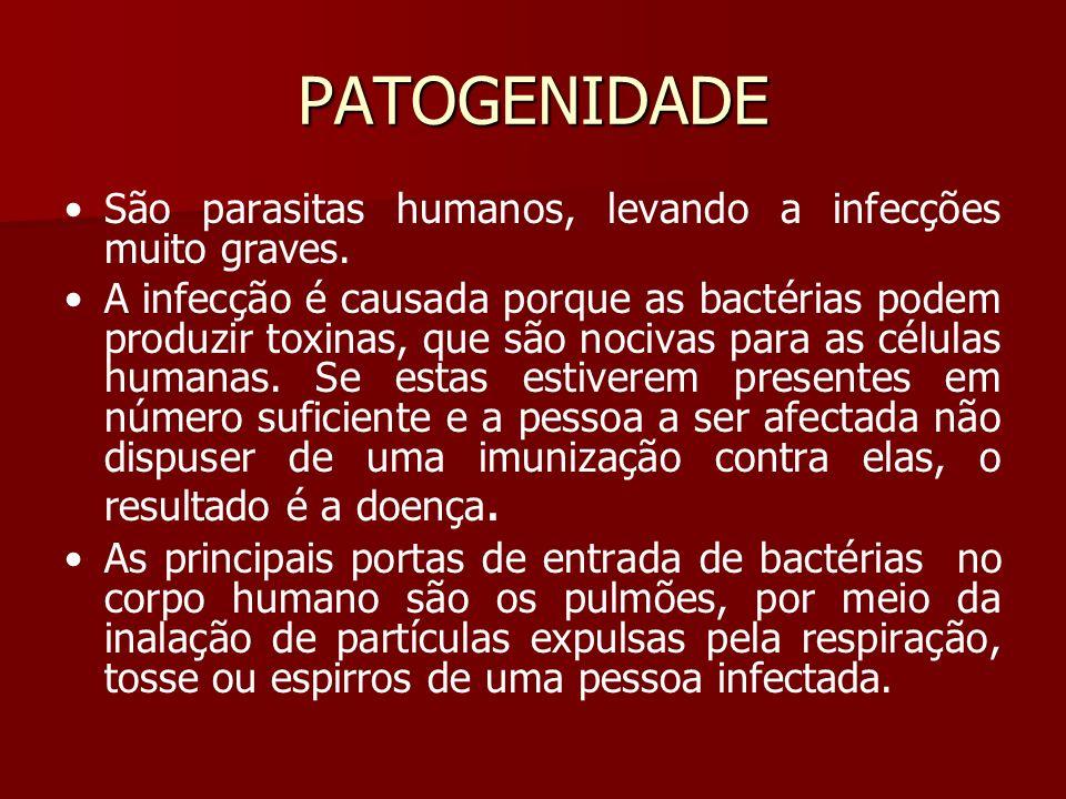 PATOGENIDADE São parasitas humanos, levando a infecções muito graves.