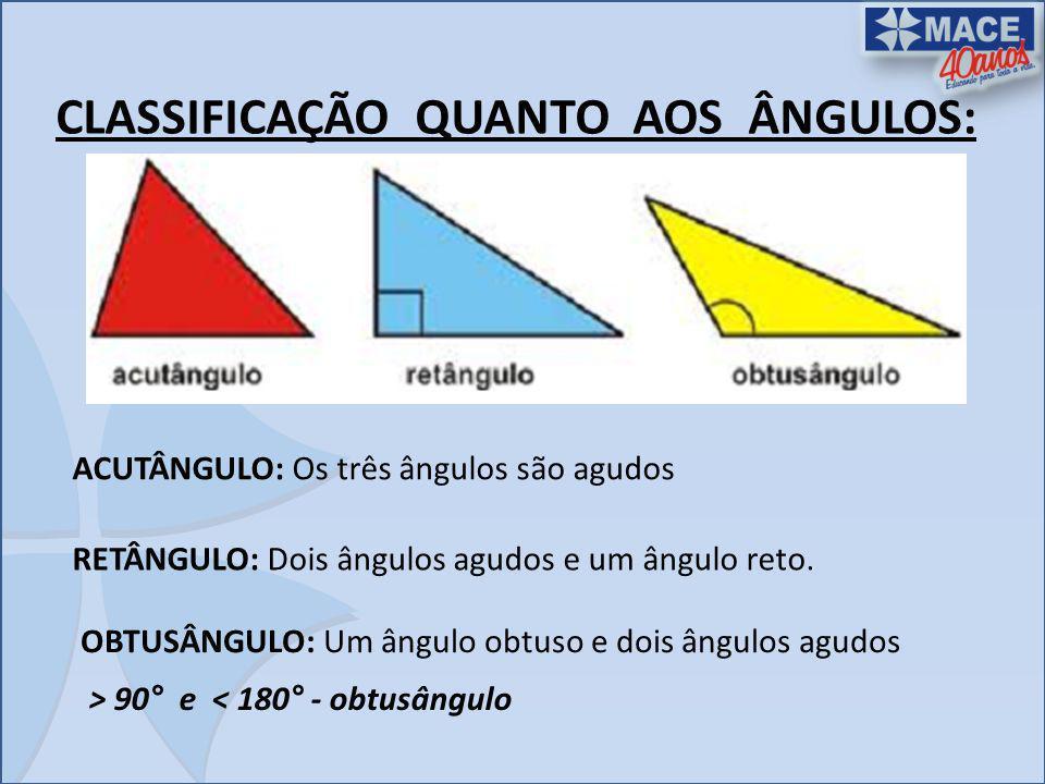 CLASSIFICAÇÃO QUANTO AOS ÂNGULOS: ACUTÂNGULO: Os três ângulos são agudos RETÂNGULO: Dois ângulos agudos e um ângulo reto. OBTUSÂNGULO: Um ângulo obtus