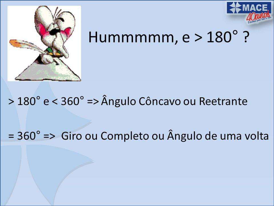 Hummmmm, e > 180° ? > 180° e Ângulo Côncavo ou Reetrante = 360° =>Giro ou Completo ou Ângulo de uma volta