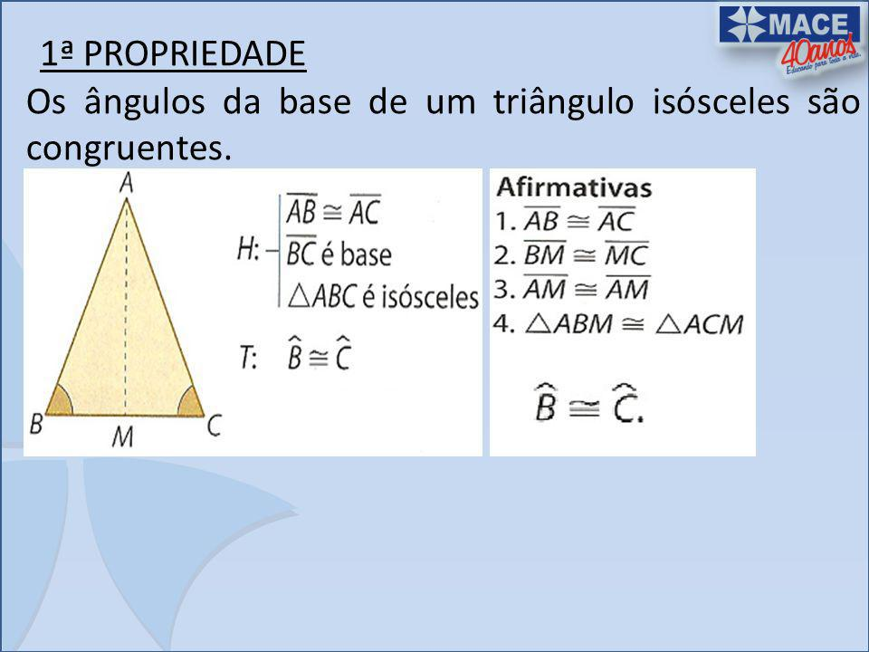 2ª PROPRIEDADE Em um triângulo isósceles, a mediana, a bissetriz e a altura relativa à base coincidem.