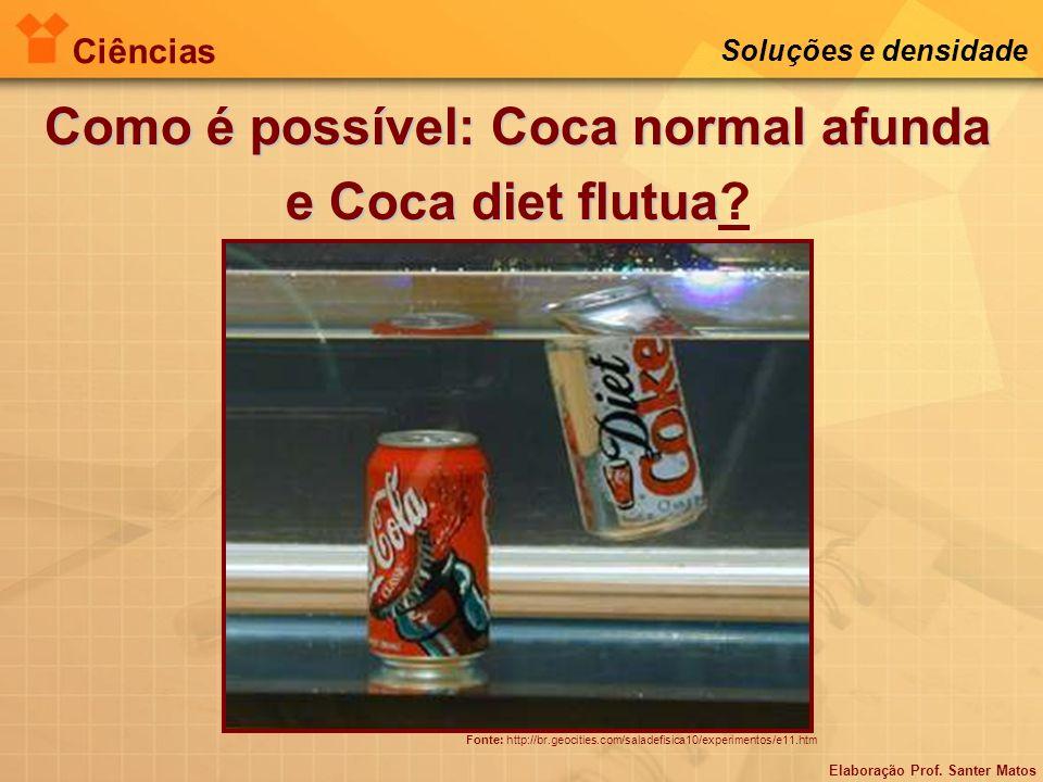 Elaboração Prof. Santer Matos Ciências Soluções e densidade Como é possível: Coca normal afunda e Coca diet flutua Como é possível: Coca normal afunda