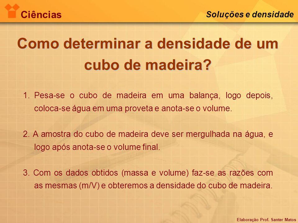 Elaboração Prof. Santer Matos Ciências Soluções e densidade Como determinar a densidade de um cubo de madeira? 1.Pesa-se o cubo de madeira em uma bala